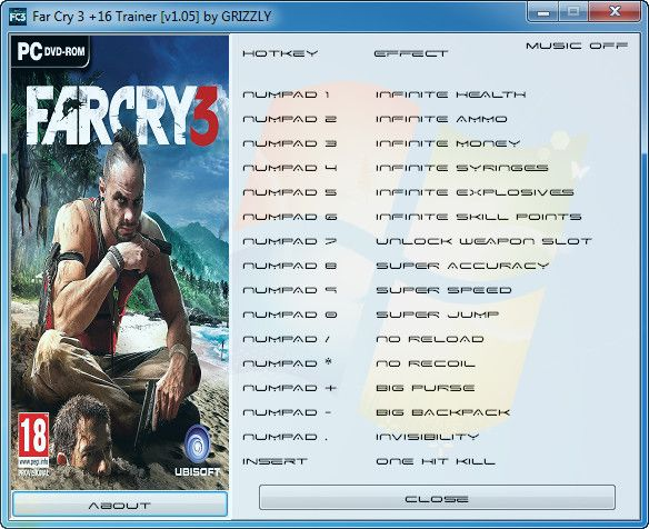 Far Cry 3 v1.05 +16 Trainer [GrizzlY]