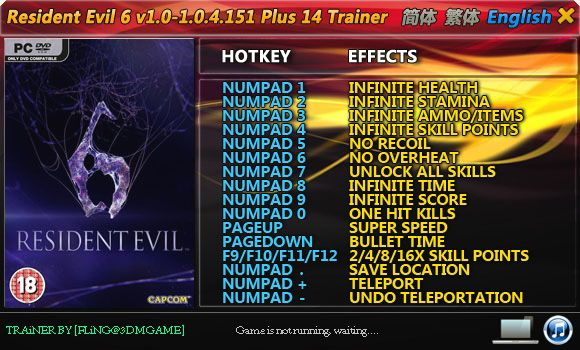 Resident Evil 6 (Biohazard 6) 1.0-1.0.4.151 +14 Trainer [FliNG]